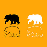 Bear black and white set icon.