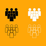 Working together team concept set icon.