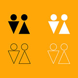 Man and woman black and white set icon.