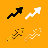 Chart of growth black and white set icon.