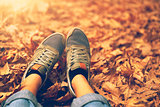 Relaxing in the autumn park