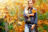 Nice female in autumn park