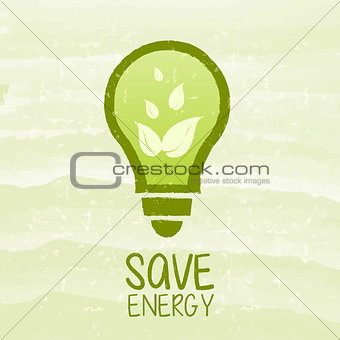 save energy and bulb symbol with leaf signs over green grunge ba