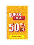 super deal 50 percent off discount and big sale banner