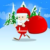 Santa Claus character carrying sack.