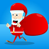 Santa Claus character carrying sack.