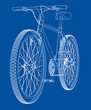 Bicycle. Wire-frame style. Vector