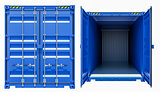 Blue cargo freight container, opened and closed