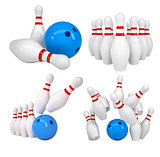 Bowling set. Isolated on white