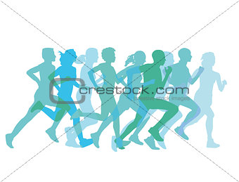 a group of runners together