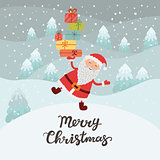 Santa Claus with gifts. Christmas card winter forest, the snow