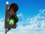 House and dollar symbols on the traffic light. Savings or real e