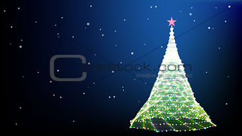 Card with christmas tree star and snowfake. Vector