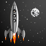 Vector Illustration rocket and dog cat mouse fly into space