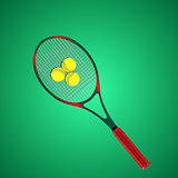 Tennis racket and ball isolated on green background. Vector illustration