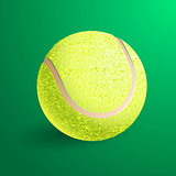 Tennis ball isolated on green background. Vector illustration