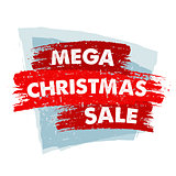 mega christmas sale in red drawn banner