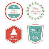 merry christmas in holiday labels with christmas tree, star, mis