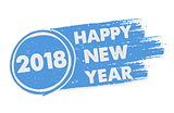 happy new year 2018 in drawn blue banner