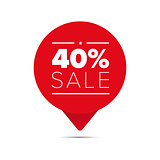 Fourty percent sale offer tag