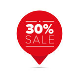 Thirty percent sale offer tag