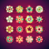Christmas Colorful Neon Snowflakes