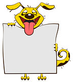 Smiling yellow dog holding blank white sheet of paper banner. Fun dog stick out tongue