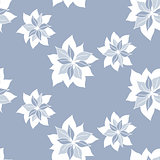 seamless pattern with abstract blue flowers