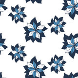 seamless blue flowers pattern on white background