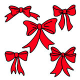 Doodle red gift bows for christmas or birthday
