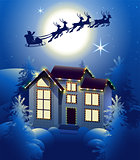 Santa Claus in sleigh reindeer silhouette in background of full moon in night sky. Christmas house illumination in winter forest