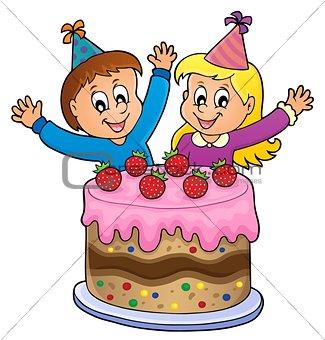 Cake and two kids celebrating image 1
