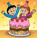 Cake and two kids celebrating image 2