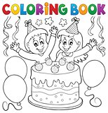 Coloring book cake and kids celebrating