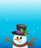 Lurking snowman in snowy weather theme 1