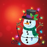 Snowman with Christmas lights image 3