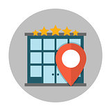 Hotel location flat icon