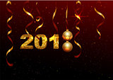 Golden 2018 number symbol new year. Holiday decoration background golden ribbon, ball, shining stars