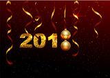 Golden 2018 number symbol new year. Holiday decoration background golden ribbon, ball, shining stars