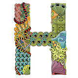 Letter H zentangle. Vector decorative object
