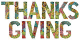 Word THANKSGIVING with falling leaves. Vector decorative zentangle object