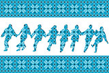 Blue ethnic background with traditional dancers silhouettes