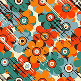 Grunge floral seamless pattern