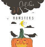 Hand drawn vector abstract cartoon Happy Halloween illustration poster with ravens,pumpkin,moon and modern calligraphy phase 31 october monsters night isolated on white background