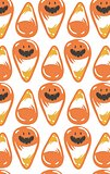 Hand drawn vector abstract cartoon Happy Halloween illustration seamless pattern with orange candy cones isolated on white background