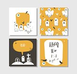 Hand drawn vector abstract cartoon Happy Halloween illustrations party posters and collection cards set with ghosts,bats,graves and modern calligraphy isolated on white background