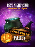 Halloween party flyer with pumpkins