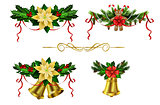Christmas decoration evergreen trees and bell