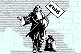 2018 new year Santa Claus hitchhiker with a bag of money