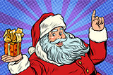 Santa Claus with Christmas gift box